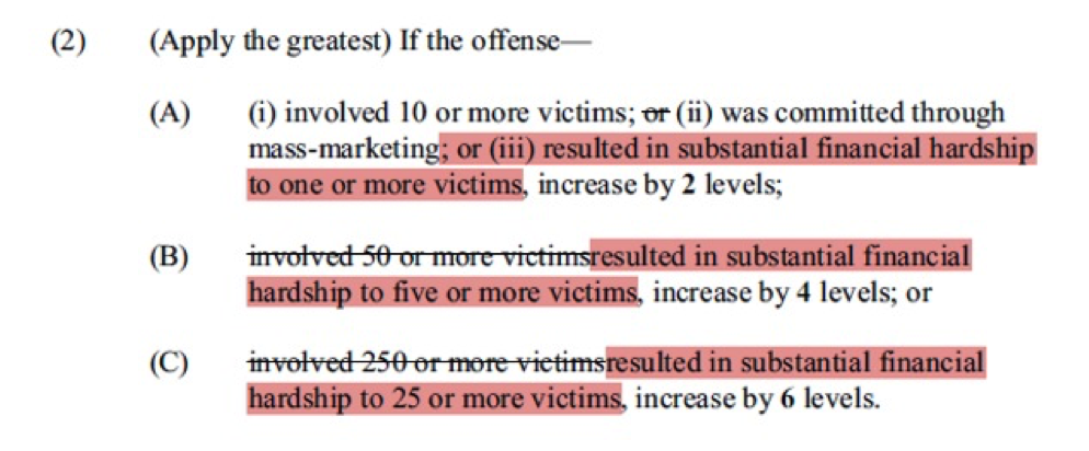 Number of Victims - Prison Sentencing Guidelines